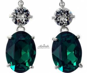 SWAROVSKI UNIQUE EARRINGS CRYSTAL EMERALD STERLING SILVER 925