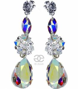 SWAROVSKI CRYSTALS AURORA AB BEAUTIFUL EARRINGS SILVER 925
