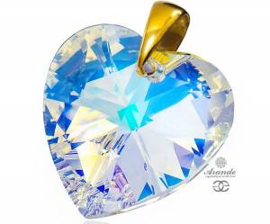 SWAROVSKI PENDANT AURORA HEART GOLD PLATED STERLING SILVER