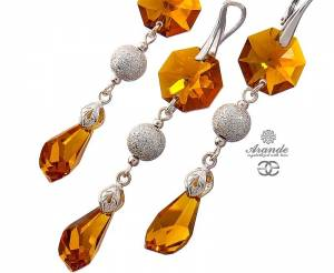 SWAROVSKI BEAUTIFUL LONG EARRINGS PENDANT TOPAZ  DIAMOND STERLINGS SILVER 925