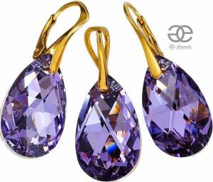EARRINGS+PENDANT SWAROVSKI CRYSTALS VIOLET COMET GOLD PLATED STERLING SILVER