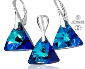NEW SWAROVSKI BEAUTIFUL EARRINGS BLUE TRIO PENDANT STERLING SILVER 925