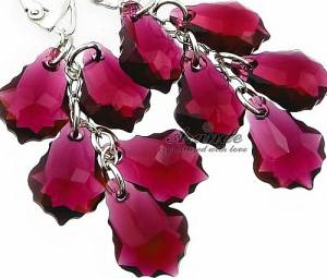 RUBY BAROQUE LONG EARRINGS SWAROVSKI CRYSTALS