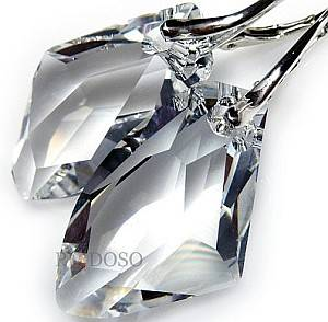 SWAROVSKI CRYSTALS *GALACTIC CRYSTAL* GENUINE EARRINGS CRYSTAL SILVER HANDMADE