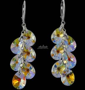 SWAROVSKI UNIQUE LONG EARRINGS AURORA MIX STERLING SILVER 925