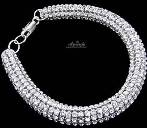 SWAROVSKI CRYSTALS WIDE BRACELET CRYSTALLIZED STERLING SILVER 925