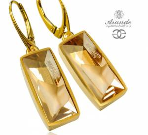 NEW SWAROVSKI UNIQUE EARRINGS GOLDEN SHADOW JEAN PAUL GAULTIER GOLD PLATED STERLING SILVER
