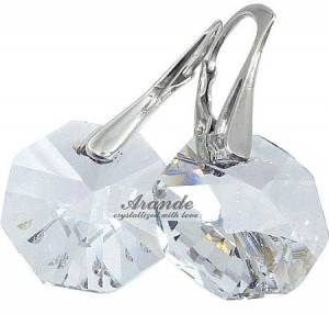 EARRINGS SWAROVSKI CRYSTALS OCTAGON 14MM CRYSTAL SILVER CERTIFICATE