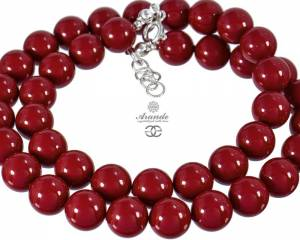 SWAROVSKI BEAUTIFUL NECKLACE RED CORAL PEARL STERLING SILVER 925