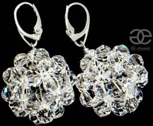 SWAROVSKI BEAUTIFUL LARGE CRYSTAL BALLS STERLING SILVER