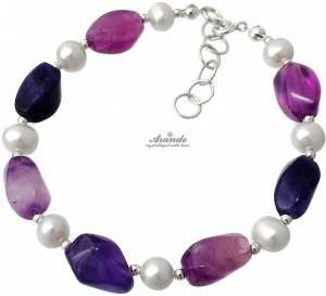NATURAL FLUORITE WHITE PEARL BEAUTIFUL BRACELET STERLING SILVER 925