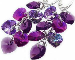 SWAROVSKI CRYSTALS *VIOLET HEART MIX* EARRINGS STERLING SILVER 7 CRYSTALS