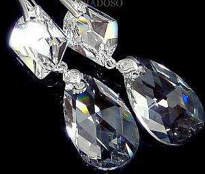 SWAROVSKI CRYSTALS 28+20 EARRINGS STERLING SILVER CERTIFICATE HANDMADE