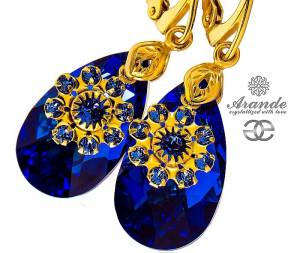 SWAROVSKI BEAUTIFUL EARRINGS BLUE FLOW GOLD PLATED STERLING SILVER