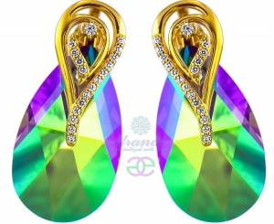 NEW SWAROVSKI BEAUTIFUL EARRINGS PARADISE SHINE AURE GOLD PLATED STERLING SILVER