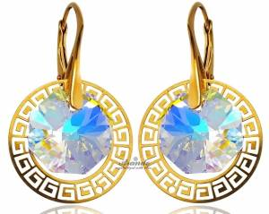 SWAROVSKI CRYSTALS DECORATIVE EARRINGS GREEK AURORA GOLD PLATED SILVER CERTIFICATE