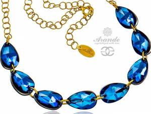 NEW SWAROVSKI CRYSTALS NECKLACE BERMUDA BLUE GOLD PLATED STERLING SILVER