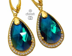 SWAROVSKI BEAUTIFUL EARRINGS EMERALD ENCANTE GOLD PLATED STERLING SILVER