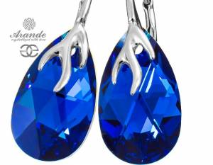 SWAROVSKI DECORATIVE EARRINGS BLUE COMET STERLING SILVER