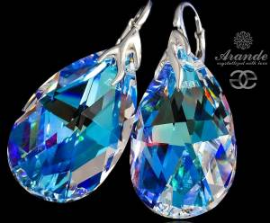 SWAROVSKI SILVER EARRINGS BLUE AURORA STERLING SILVER 925