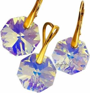 SWAROVSKI BEAUTIFUL EARRINGS PENDANT AURORA GOLD PLATED STERLING SILVER