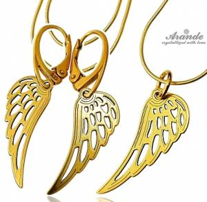 TRENDY EARRINGS NECKLACE *SENSATION WING* STERLING SILVER 24K GOLD PLATED