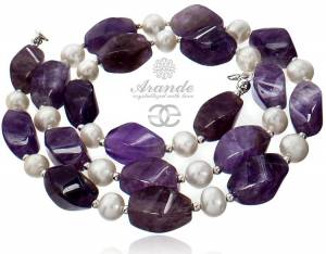 GENUINE PEARLS NATURAL AMETHYST BEAUTIFUL NECKLACE STERLING SILVER