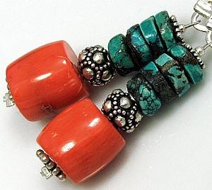 NATURAL CORAL AND TURQUOISE BEAUTIFUL EARRINGS STERLING SILVER 925