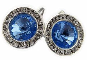 SWAROVSKI *SAPPHIRE PARIS RING* EARRINGS STERLING SILVER 925