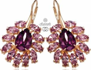 SWAROVSKI UNIQUE EARRINGS AMETHYST AZURE ROSE GOLD