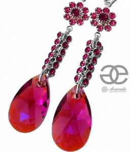 NEW SWAROVSKI CRYSTALS *FUCHSIA CRYSTALLIZED* EARRINGS STERLING SILVER 925