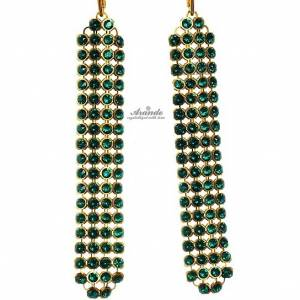 SWAROVSKI BEAUTIFUL EARRINGS CRYSTALLIZED EMERALD GOLD PLATED STERLING SILVER
