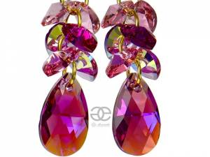 SWAROVSKI EARRINGS *FUCHSIA GOLD ZODIAC* GOLD PLATED SILVER