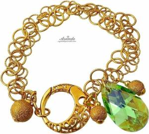 SWAROVSKI BEAUTIFUL BRACELET PERIDOT GOLD PLATED STERLING SILVER