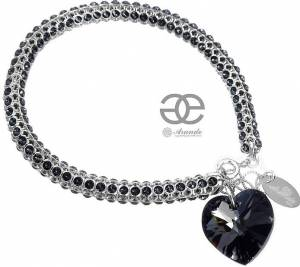 NEW UNIQUE BRACELET SWAROVSKI CRYSTALS *NIGHT HEART* SILVER 925 CERTIFICATE