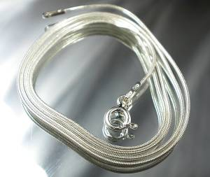 STERLING SILVER CHAIN 60 CM SILVER SNAKE MADE IN ITALY