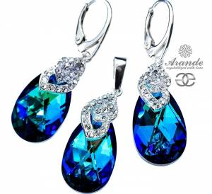 SWAROVSKI EARRINGS AND PENDANT BERMUDA BLUE SPECIAL SILVER 925
