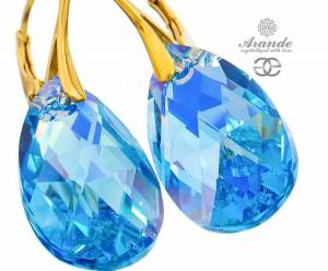 SWAROVSKI BEAUTIFUL EARRINGS AQUA GOLD PLATED STERLING SILVER