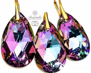 SWAROVSKI BEAUTIFUL EARRINGS PENDANT *VITRAIL GOLD* 24K GOLD PLATED SILVER