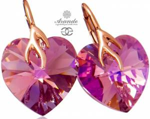 SWAROVSKI BEAUTIFUL EARRINGS HEART ROSE GOLD SILVER 925
