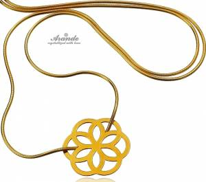 TRENDY NECKLACE SENSATION ROSE STERLING SILVER 24K GOLD PLATED