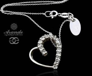 SWAROVSKI BEAUTIFUL NECKLACE CRYSTAL HEART STERLING SILVER