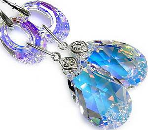 EARRINGS SWAROVSKI CRYSTALS *AURORA BLOSSOM* STERLING SILVER 925 CERTIFICATE
