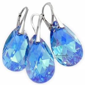 EARRINGS+PENDANT SWAROVSKI CRYSTALS *AQUAMARINE AB* STERLING SILVER CERTIFICATE