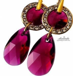 SWAROVSKI CRYSTALS EARRINGS *RUBY GOLD* STERLING SILVER 24K GOLD PLATED