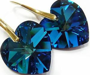 SWAROVSKI CRYSTALS HEART EARRINGS BERMUDA BLUE GOLD PLATED SILVER CERTIFICATE