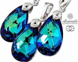 SWAROVSKI EARRINGS PENDANT BERMUDA BLUE STERLING SILVER