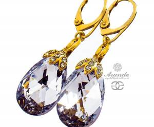 SWAROVSKI UNIQUE EARRINGS COMET SPECIAL GOLD PLATED STERLING SILVER