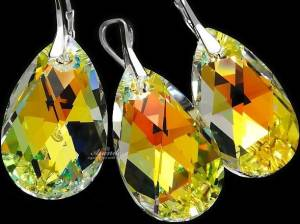 SWAROVSKI CRYSTALS EARRINGS + PENDANT AURORA PEAR DROPS STERLING SILVER 925