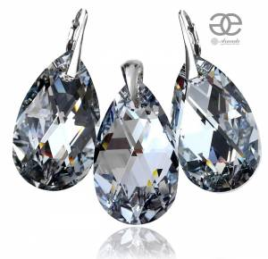SWAROVSKI CRYSTALS *COMET 28MM* LARGE EARRINGS+PENDANT+CHAIN STERLING SILVER 925